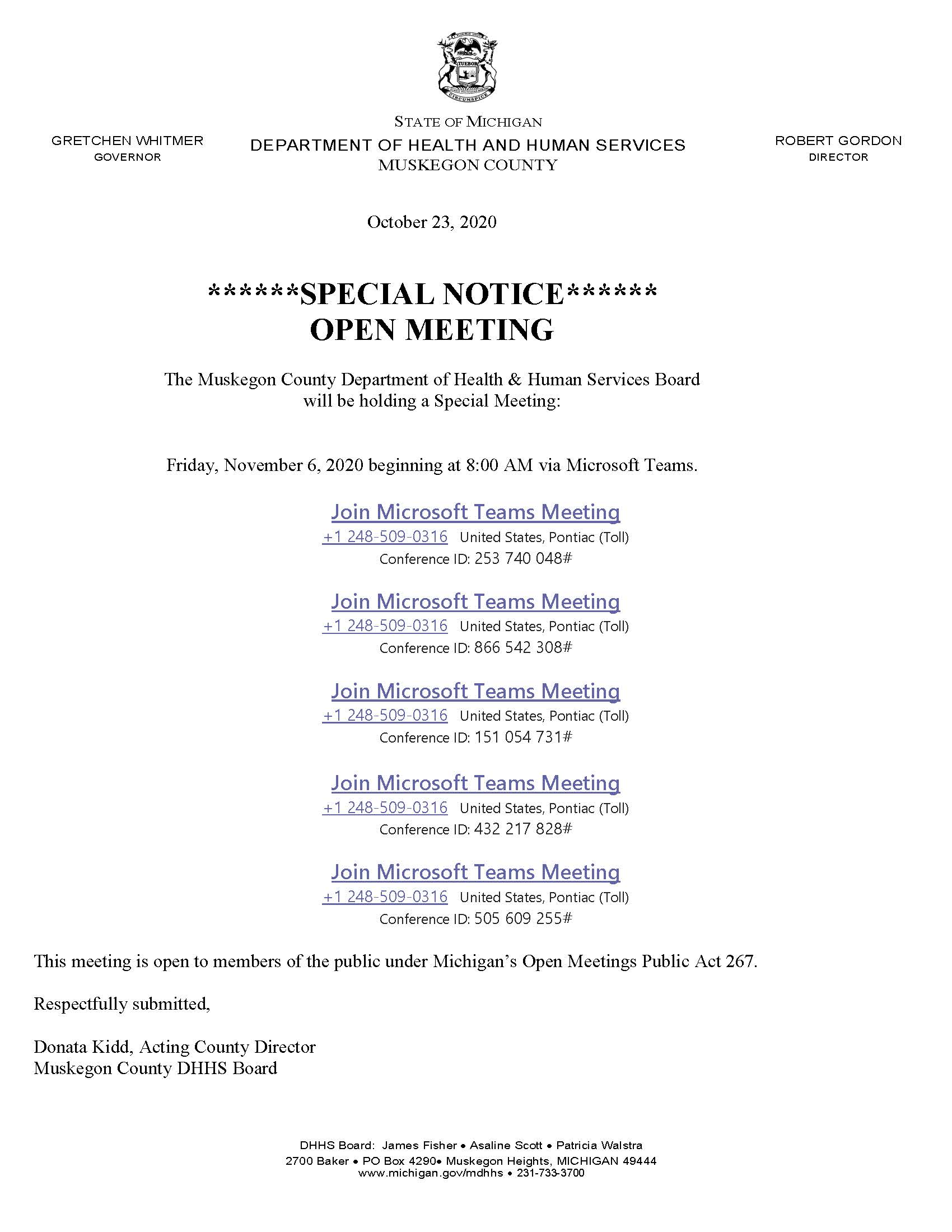Memo Public Notice of DHHS Board Meeting-November 6 2020